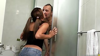 Freshly showered grandpa gets his dick wet in her teen pussy