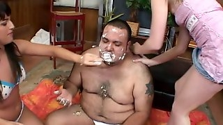 Avy Lee Roth and Shawna Lenee make a fat guy eat and fuck them