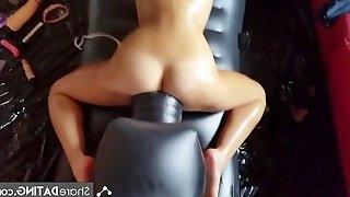 Multiple orgasms on fucking machine bitch masturbation