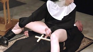 Kinky nun wants the priest to pound her sinful pussy