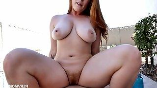 Outdoor POV sex with curvy busty redhead PAWG Summer Hart getting cumshot