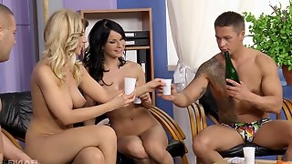 Two horny couples playing games and having group sex on the floor