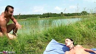 Slim Nudism Teen Seduce to Beach Ass Sex by Stranger Voyeur