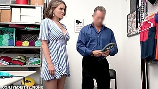 Super sexy shoplifter Krissy Lynn gets punished in a guard room