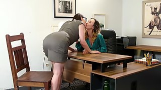 Two fucking hot lesbians Jade Nile and Sovereign Syre are making love on the table