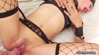 Asian Slut in fishnet lingerie and stockings does completeness her man desires