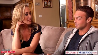 Hot blooded cougar Brandi Love is craving for son's drained friend