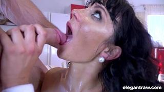 Hardcore fucking on the sofa with fake boobs chick Valentina Ricci