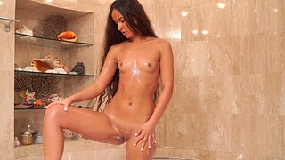 Sexy amateur Monica Shadowy loves categorizing her pussy surrounding along to shower