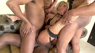 Blonde MILF roughly fucked for a complete gangbang