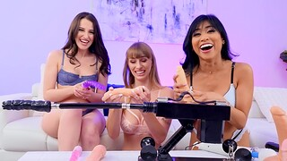 Aubree Valentine and two hot lesbians be wild about with machines