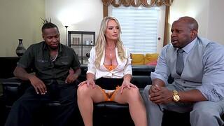 Rough interracial MMF threesome with sweet Rachael Cavalli